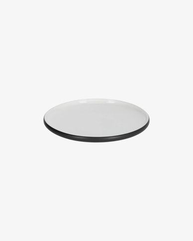 Sadashi porcelain dessert plate in black and white