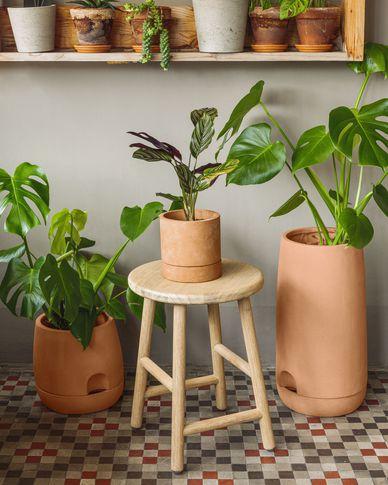 Janaina set van 2 terracotta potten Ø 18 cm en Ø 12 cm