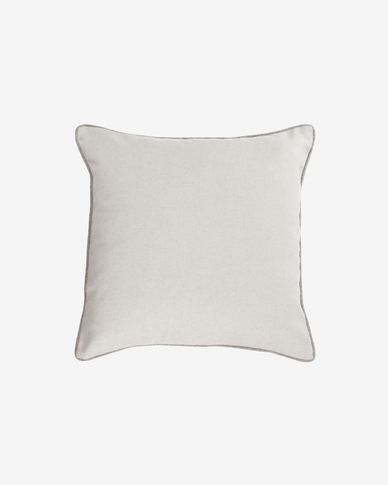 Funda cojín Alcara blanco con borde gris 45 x 45 cm