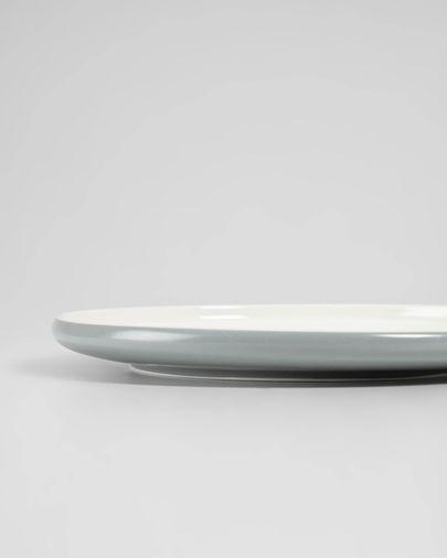 Assiette plate Sadashi en porcelaine blanc et gris