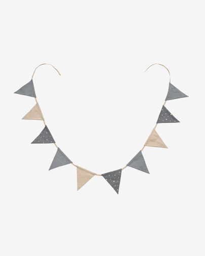 Zalia 100% organic cotton (GOTS) grey fabric pennant