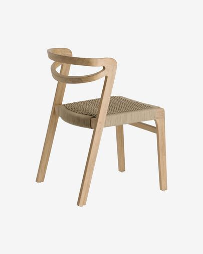 Chaise Ezilda en bois massif d'eucalyptus et corde beige FSC 100%