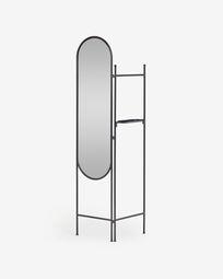 Biombo con espejo Vaniria metal negro 82 x 183 cm