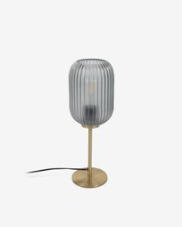 Hestia metal table lamp with brass finish and grey glass
