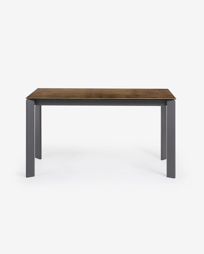 Extendable table Axis 140 (200) cm porcelain Iron Corten finish anthracite legs