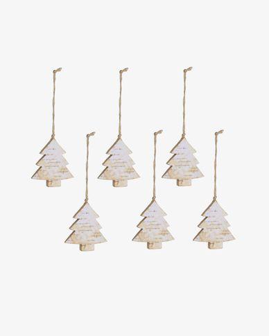 Set Alira di 6 alberi di Natale decorativi pendenti