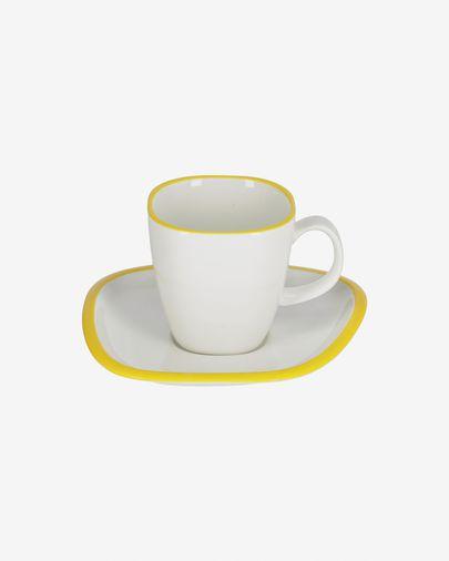 Taza con plato Odalin porcelana blanco y amarillo