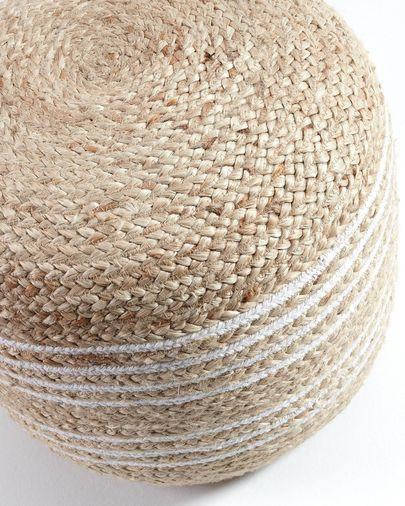 Puf Saht Ø 45 cm natural i blanc