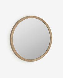 Alum round solid mindi wood mirror, 80 cm