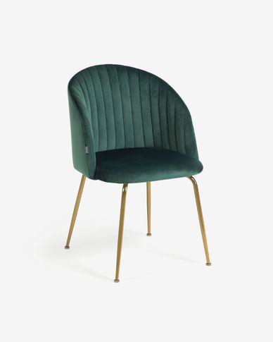 Cadira Lumina vellut verd fosc potes acer acabat daurat
