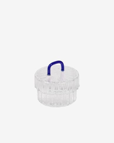 Gretel transparent and blue glass jar