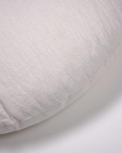 Funda coixí rodó Tamanne 100% lli blanc Ø 45 cm
