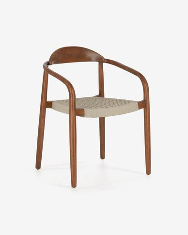 Krzesło Nina lite drewno eukaliptusowe wykończenie orzech i beżowa lina 100% FSC