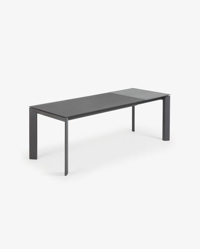 Extendable table Axis 160 (220) cm gray glass graphite legs