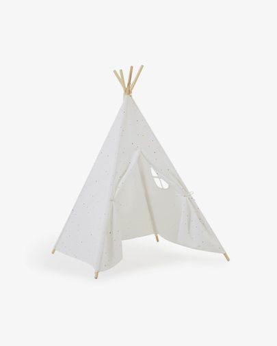 Tipi Miris 100% algodón multicolor y patas de madera maciza de pino