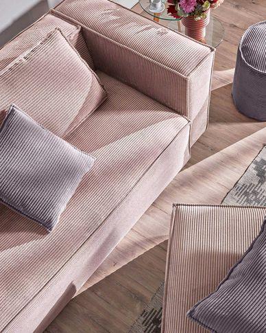 Sofa 3-osobowa Blok z różowego sztruksu 240 cm