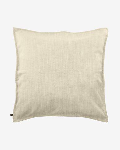 Blok linen cushion cover in white, 60 x 60 cm