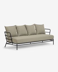 Mareluz three-seater black steel sofa 197 cm