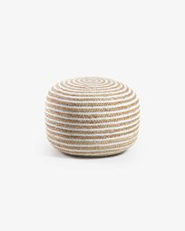 White and natural Saht pouf Ø 50 cm