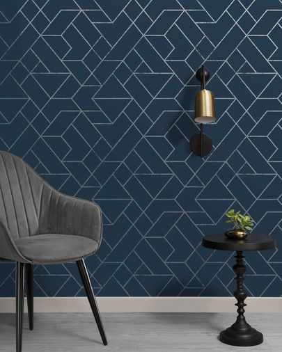 Gea 10 x 0,53 m blue and silver wallpaper FSC MIX Credit