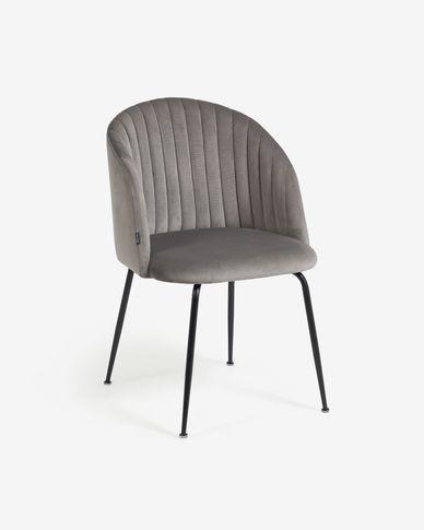 Cadira Lumina vellut gris clar potes acer acabat negre