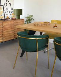 Koda Tisch 220 x 100 cm mit Eichenplatte natur und schwarzen Stahlbeinen