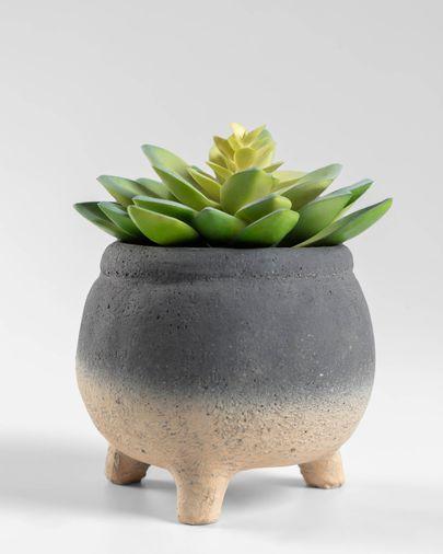 Pianta artificiale Sedum lucidum in vaso in cemento