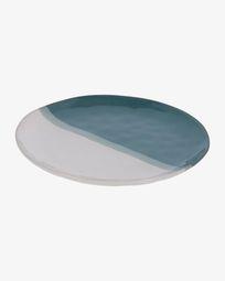 Plat pla Nelba de ceràmica blanc i blau