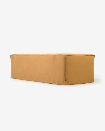 Sofá desenfundable Blok de 3 plazas con lino mostaza 240 cm