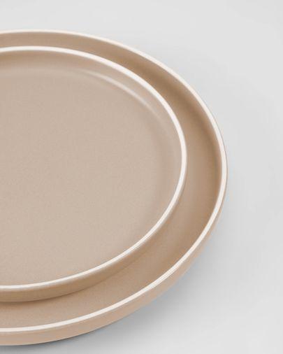 Shun flat plate in beige porcelain