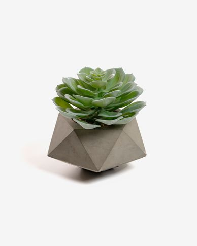 Planta artificial Echeveria glauca con maceta de cemento 14 cm