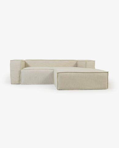 Blok 2-Sitzer Sofa mit abnehmbarem Bezug mit Chaiselongue rechts Leinen weiß 240 cm