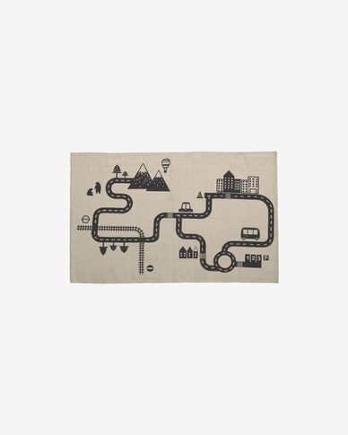 Nisi 100% organic cotton (GOTS) rug in beige and black 75 x 120 cm