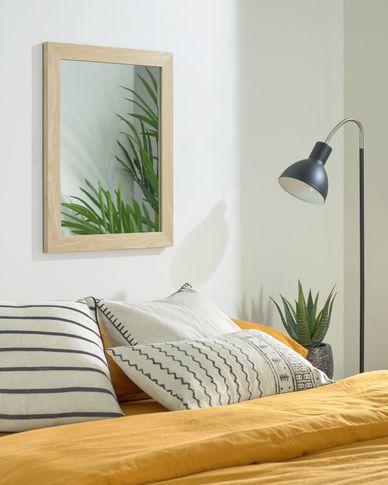 Espejo Wilany 47 x 57,5 cm marco ancho con acabado natural