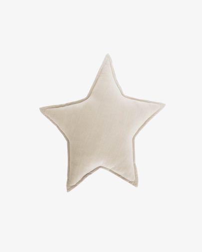 Coixí estrella Noor 100% cotó orgànic (GOTS) beix 44 x 30 cm