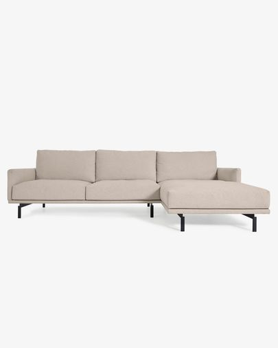 Galene beige 4-seater sofa with right chaise longue 314 cm