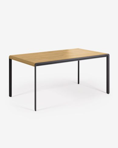 Nadyria extendable table with oak veneer and steel legs 160 (200) x 90 cm
