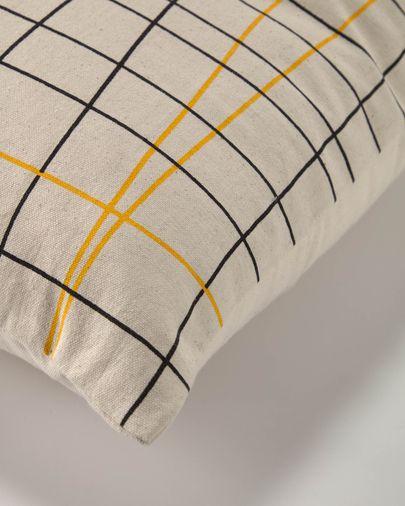 Saori 100% biologisch katoenen (GOTS) gestreepte kussenhoes in zwart en geel 45 x 45 cm