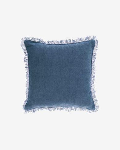 Funda cojín Almira algodón y lino flecos azul 45 x 45 cm