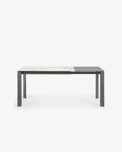 Tavolo allungabile Axis 120 (180) cm porcellanato finitura Kalos Bianco gambe antracite