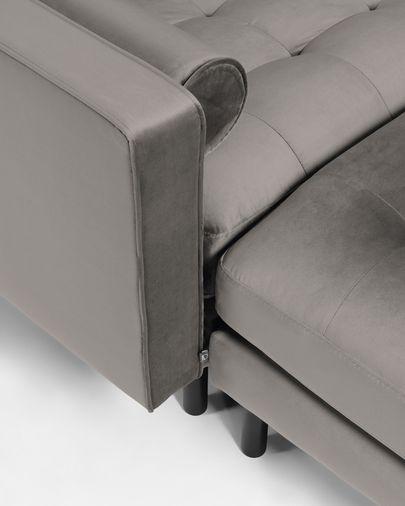 Debra dark grey velvet 3-seater sofa with pouf 222 cm
