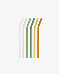 Gillia set of 6 multicolour glass reusable straws