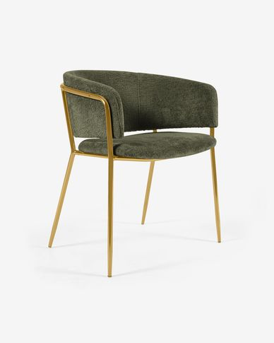 Runnie chair in dark green chenille with steel legs and gold finish