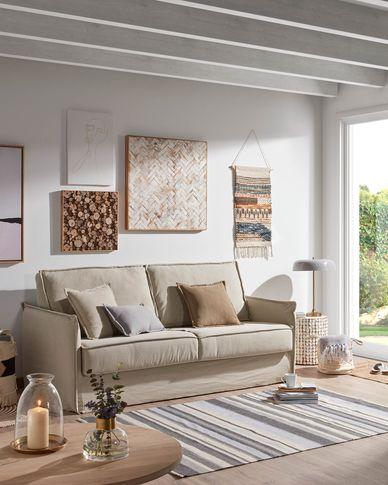 Samsa visco sofa bed in beige 140 cm
