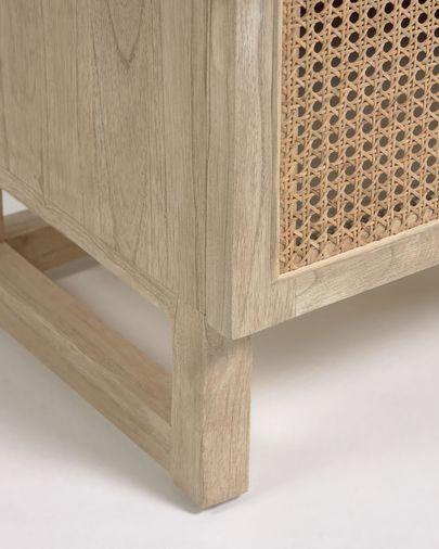 Mesita de noche Rexit madera maciza y chapa mindi con ratán 50 x 48 cm