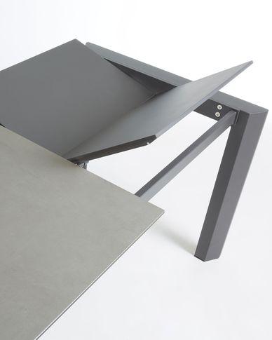 Axis uitschuifbare tafel 140 (200) cm porselein afwerking Hydra-draad antraciet benen