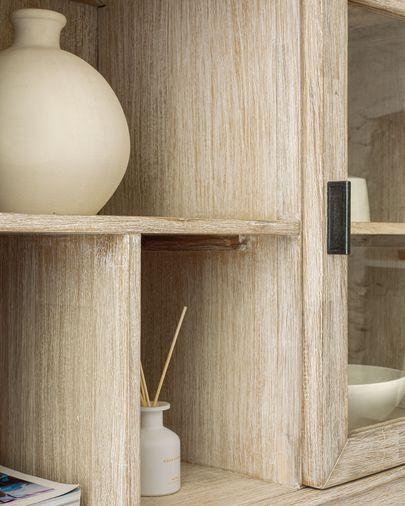 Buffet vitrine Alen 110 x 166 cm en bois d'acacia