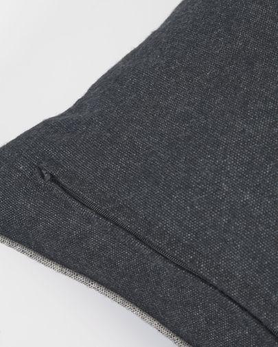 Funda cojín Alcara negro con borde gris 45 x 45 cm