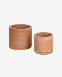 Karlina set of two planters with terracotta dish, 33 cm / 27 cm