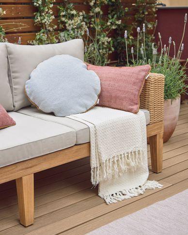 Shallow 100% cotton blanket in white 130 x 170 cm